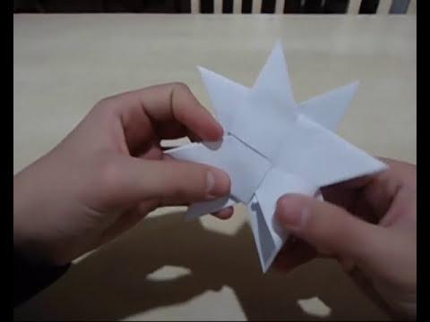 Origami - Como Fazer uma Shuriken que se Transforma de 4 Pontas para 8 Pontas!