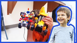 Toy Backhoe To Lego Race Car Transformation