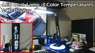 LED Desk Lamp 3 Color Temperatures LCD Display for Date Time Temperatur