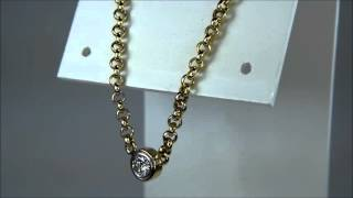 GENUINE 0.35 CT ROUND DIAMOND IN BEZEL SET ON 2.5MM 14KT YELLOW GOLD CABLE CHAIN