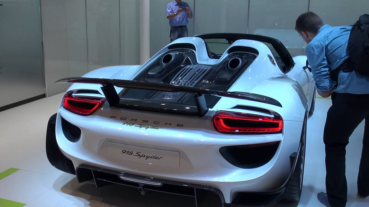 Spoiler Goes Up On The Porsche 918 Spyder At Frankfurt