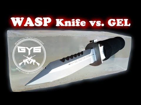 Wasp Injection Knife -vs.- Ballistic Gel video