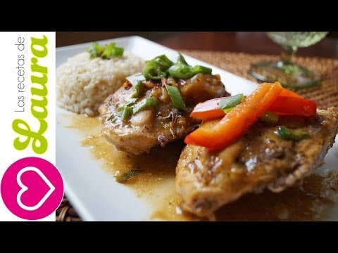 Pollo en salsa de naranja estilo chino ¡Sin Freír!♥ Recetas Saludables♥Low Fat Orange Chicken