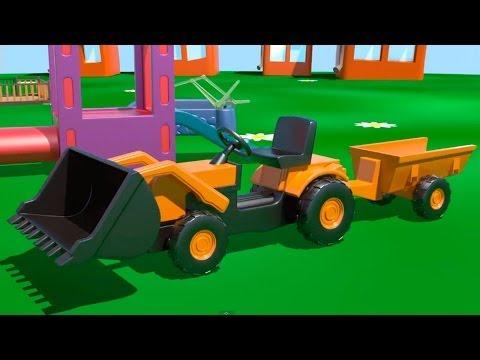 Мультфильмы про машинки - Экскаватор-погрузчик на детской площадке