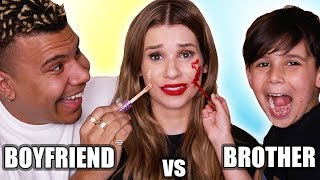 Boyfriend VS Little Brother MAKEUP CHALLENGE!