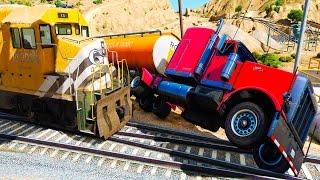 COLORFUL Trucks in Trouble with Trains  Cartoon with Nursery Rhymes Songs