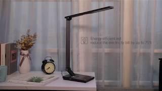 TaoTronics TT-DL16 Stylish Metal LED Desk Lamp, Office 5V/2A USB Port, 5 Color Modes