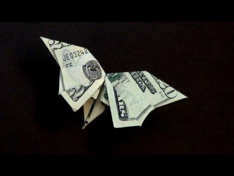 Moneygami бабочка из доллара