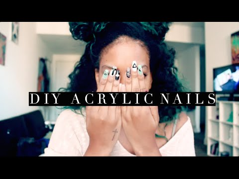 DIY Acrylic Nails + Kiss Nail Kit Review + Nail Art