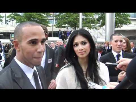 Lewis Hamilton and Nicole Scherzinger interview on the National Movie Awards red carpet Glamour com UK