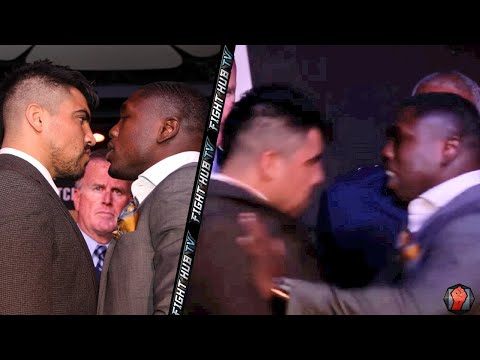 Victor Ortiz vs. Andre Berto 2- INTENSE FACE OFF! Berto pushes Ortiz!