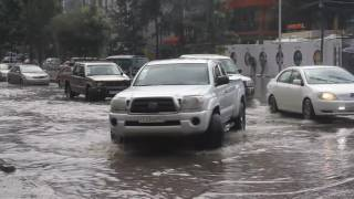 A heavy downpour caused flooding in parts of Bole Atlas, Addis Ababa