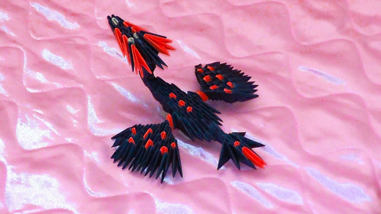 Схема сборки модульного дракона оригами