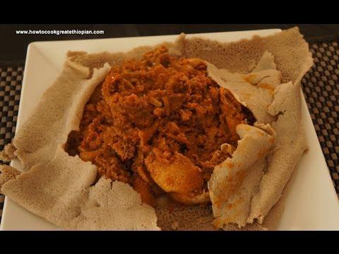 Ethiopian Food - Sega Firfir Recipe Amharic English Injera Lamb Meat Berbere