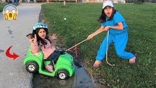 Kids Pretend play Ride on Cars Stuck in The Mud!! Funny video