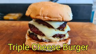 Triple Cheese Burger Cooked on the BBQ | How to cook Burgers on a BBQ