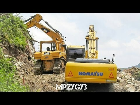 Dozer And Excavator Working On Road Construction