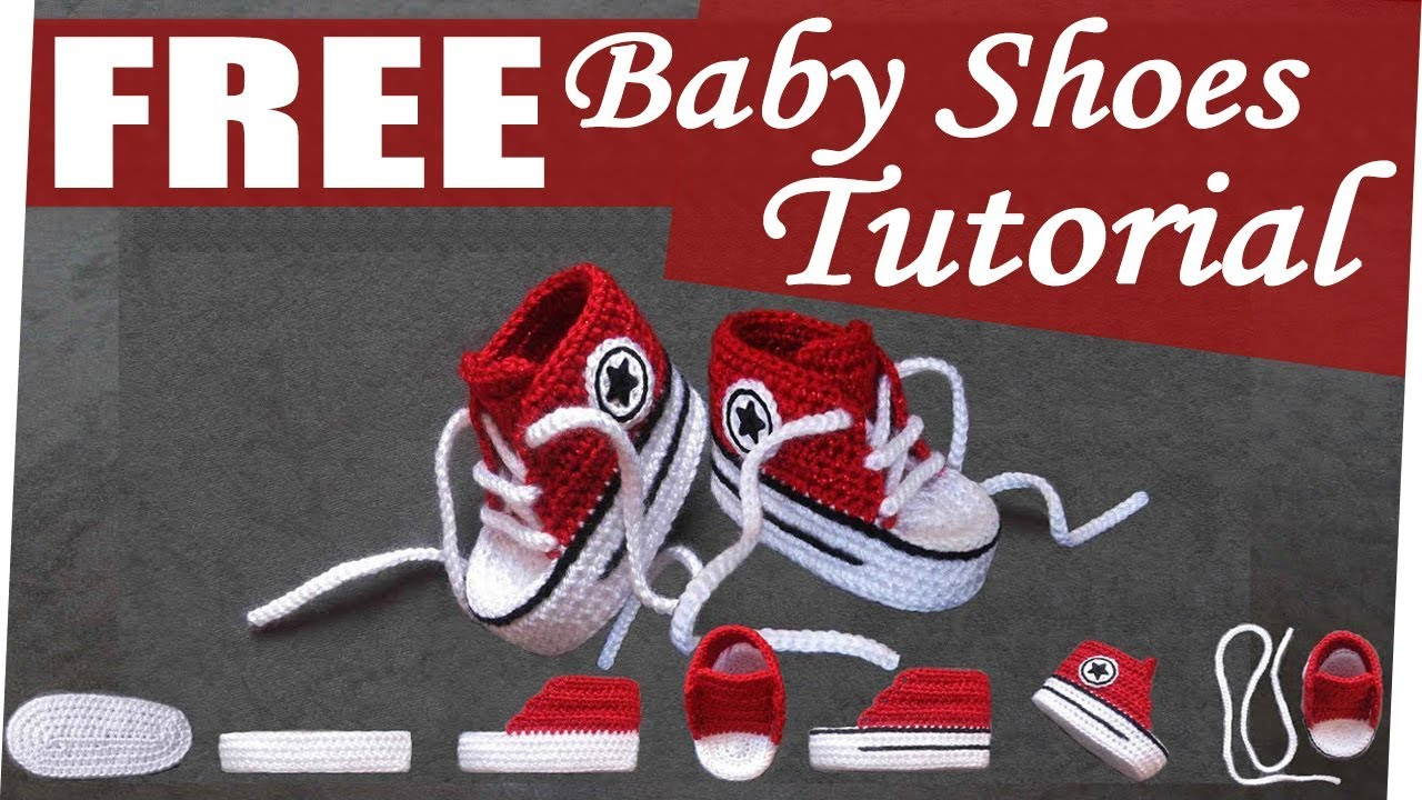 Free Crochet Pattern Newborn Converse : How to crochet nice Baby Converse Shoes easy - YouTube