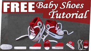How to crochet nice Baby Converse Shoes easy