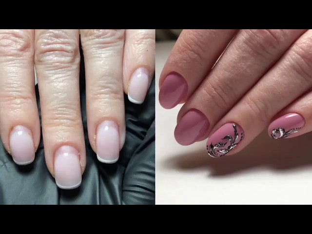 Комбинированный маникюр на клиенте / Дизайн ногтей объёмные вензеля / Luxio / Neonail