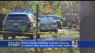 State Police Trooper Stabbed, Suspect Shot After Central Massachusetts Chase
