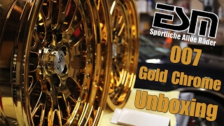 ESM 007 Gold Chrome Staggered Set Wheel Unboxing (16x8/9)