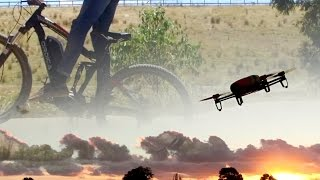 Drone vs Electric Bike vs hills. Parrot Bebop vs Ordica Mid Drive mountain bike.