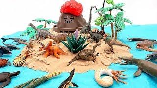 Dino Dinosaur Toys! DIY Volcano Dinosaurs Island With Mini Dino Set Rex