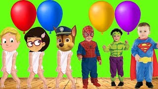 Learning Colors Superhero Babies Paw Patrol Balloons Videos For Kids