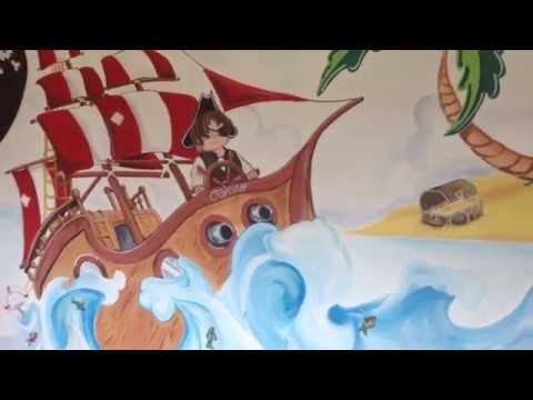 PIRATE SHIP MURAL BY DREWS WONDER WALLS 2014 time lapse