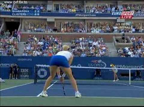 Kim Clijsters bends over ASS