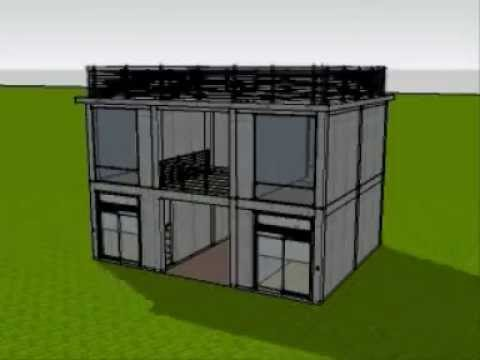 3d animated construction of 2 storey commercial building for Two story office building plans