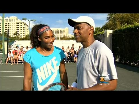 Serena Williams Teaches CBS4's Jim Berry A Couple Things On The Tennis Court