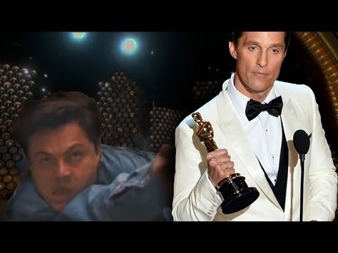 Matthew McConaughey gets interrupted at the Oscars 2014 (Poor Leo)