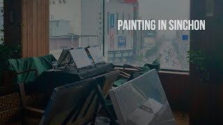 Going to a Painting Class in Sinchon-Korea Study Abroad Vlog