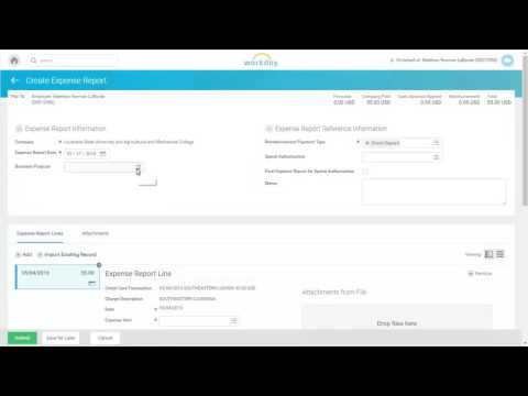 WorkDay: Create an Expense Report -- LaCarte Procurement Expenses
