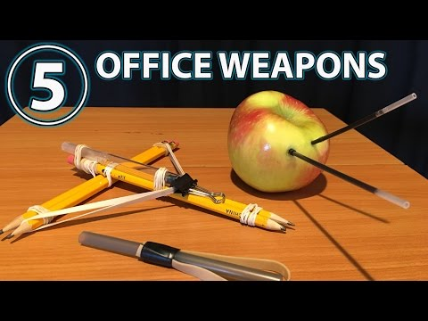 5 Awesome Office Weapons!!! (DIY, Hacks, How to) thumbnail
