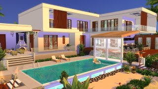 MODERN BEACH HOUSE 🌴 SIMS 4 SPEED BUILD STOP MOTION (NO CC)