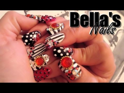 Uñas estilo Sinaloa:Diseño Blanco,Negro y Rojo, con piedras