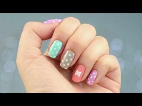 Pastelowy, słodki manicure