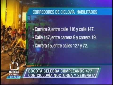 Ciclovía nocturna desde las 6 p.m. hasta la media noche en Bogotá