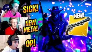 STREAMERS REACT TO *NEW* SIX SHOOTER REVOLVER (PISTOL) - Fortnite Best & Funny Moments #198