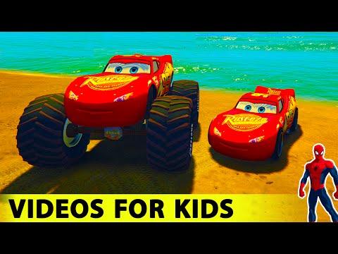 McQueen Monster TRUCKS & LIGHTNING McQueen in SPIDERMAN Cartoon Cars For Kids Nursery Rhymes Songs