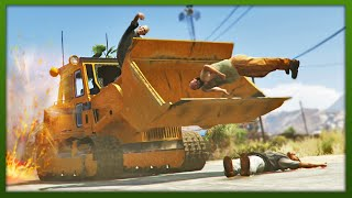 GTA 5 - Bulldozer From Hell! - (GTA 5 Funny Moments)