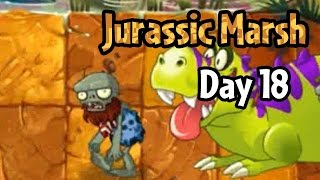 Plants vs Zombies 2 - Jurassic Marsh Day 18: T. Rexes