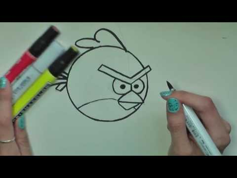 Видео как нарисовать Энгри Бердс