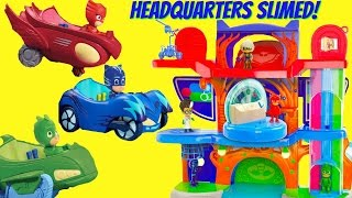 PJ Masks Owlette Catboy Gekko's Headquarters Playset Gets Slimed By Romeo Luna Girl Night Ninja