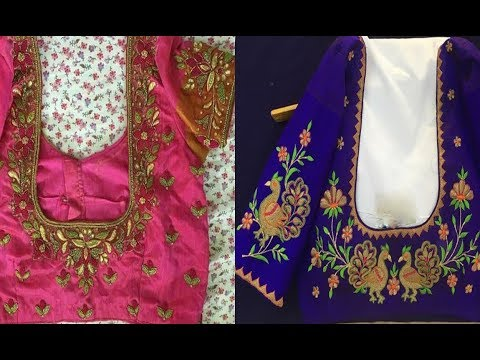 Beautiful Thread Embroidery Work Blouse Designs For Silk Saree 2018 | Latest Thread Work Blouse