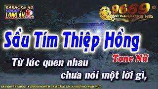 Karaoke Sầu Tím Thiệp Hồng    Tone Nữ    Karaoke Long Ẩn 9669