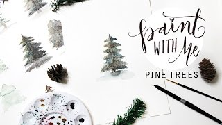 PAINT WITH ME: Holiday Pine Tree Watercolour Tutorial (Easy Beginner Painting)